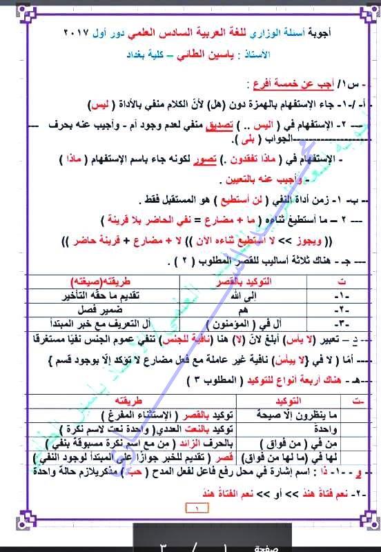حلول امتحان اللغة العربية الوزارى للسادس العلمى 2017 128