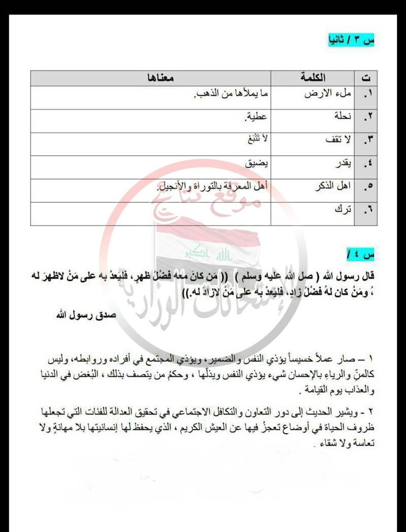 حلول امتحان التربية الاسلامية للسادس الاعدادى 2017 319