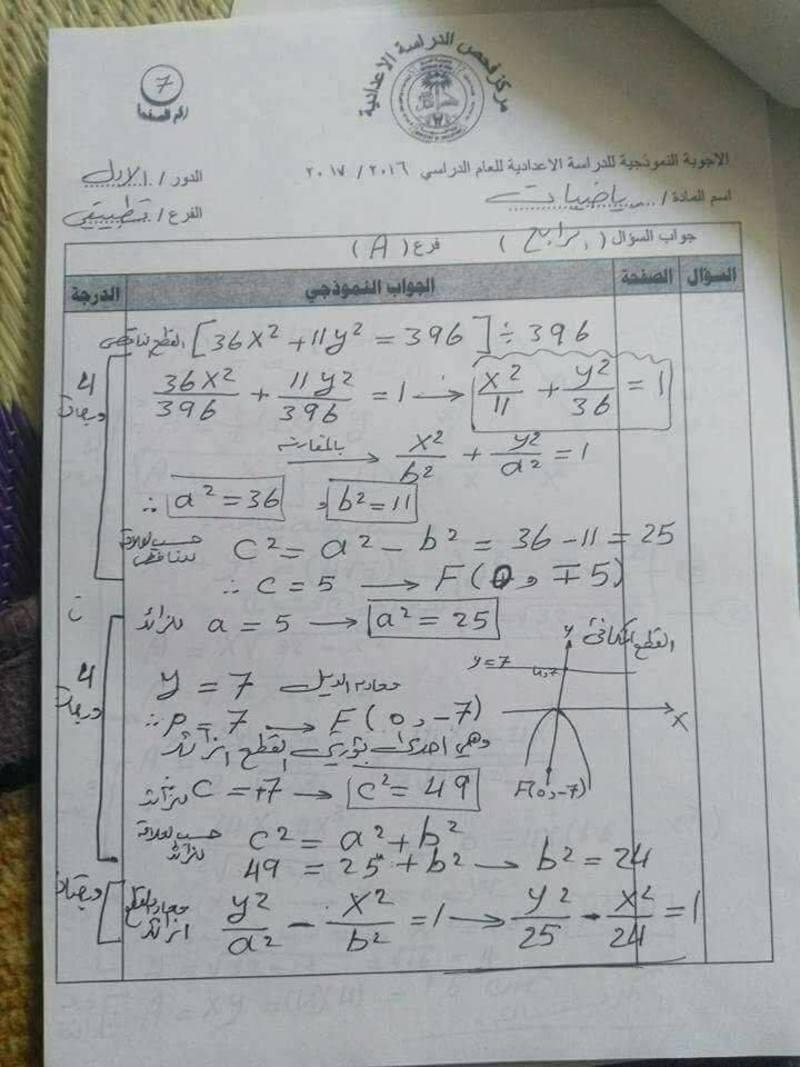 الحلول النموذجية لمادة الرياضيات للسادس التطبيقي الدور الاول 2017 423
