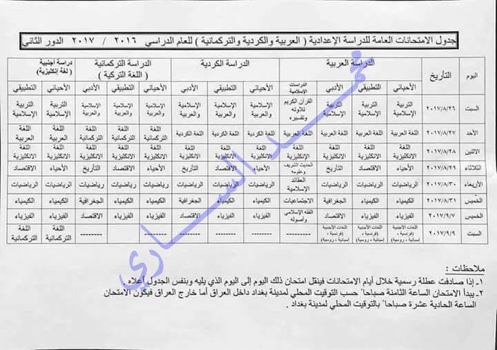 جدول امتحانات الدور الثانى للصف السادس الاعدادى 2017   525