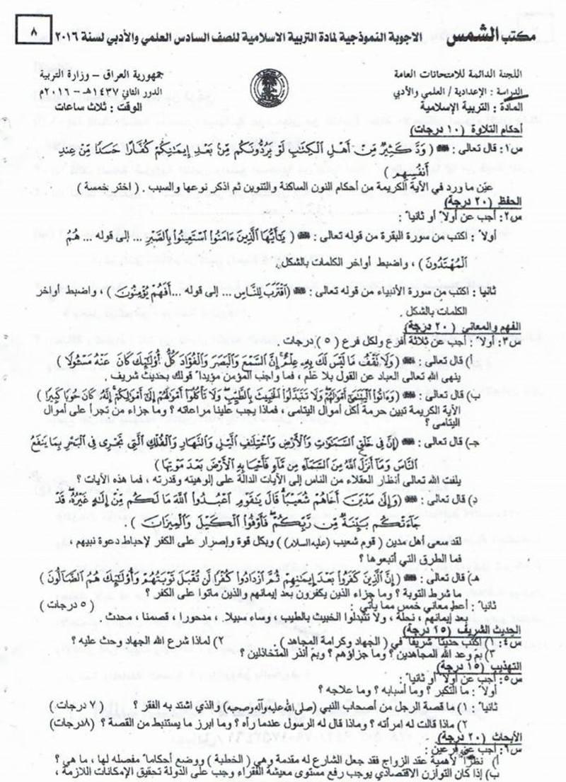 أسئلة الدور الأول والثانى والثالث 2016 والخارجية 2017 فى التربية الاسلامية للسادس الاعداى مع اجاباتها النموذجية  812