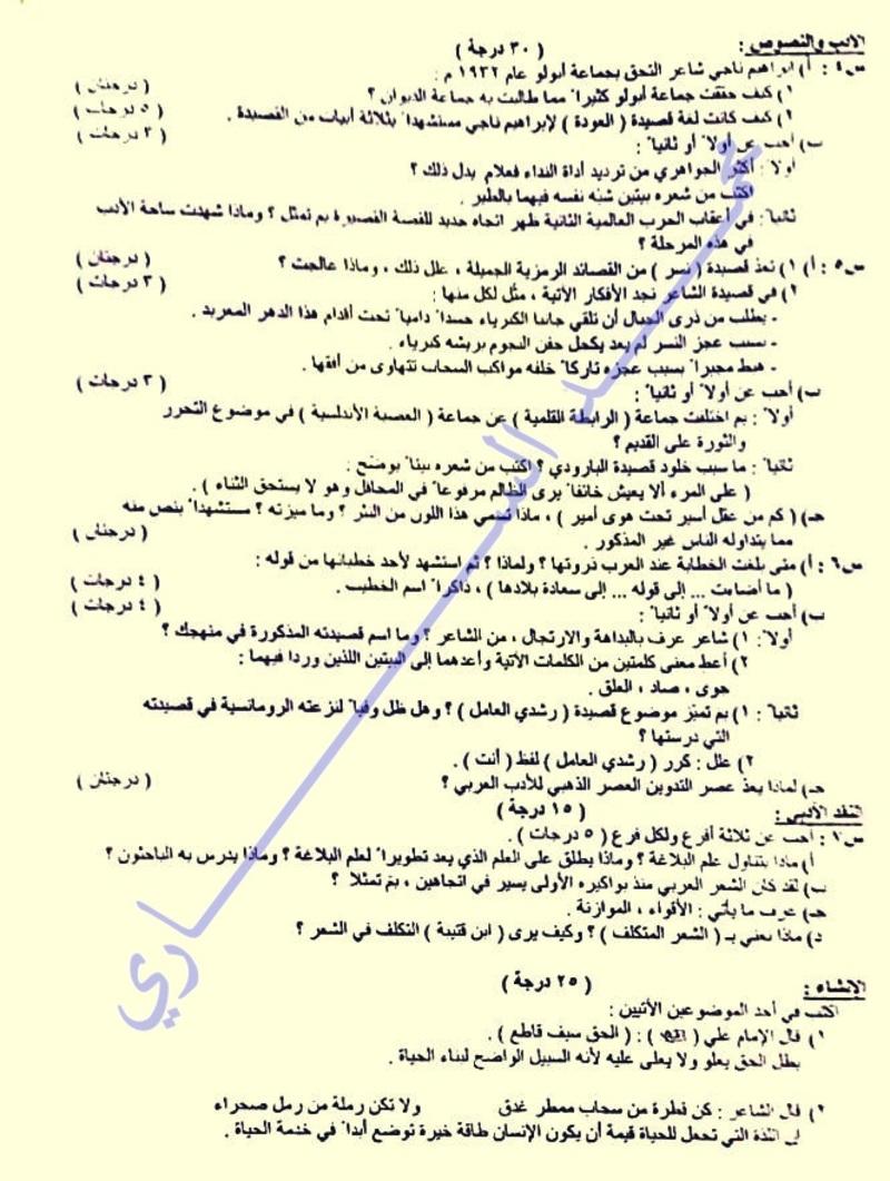 أسئلة امتحان الدور الأول فى اللغة العربية للسادس الأدبى 2017 A210