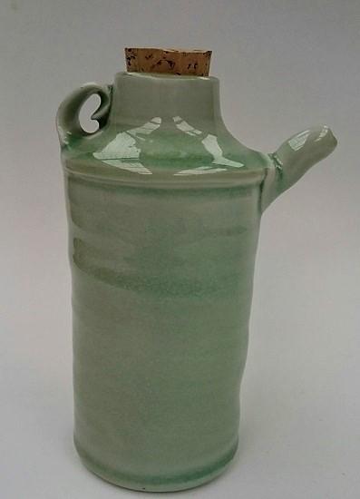 Porcelain bottle with celedon glaze was made by Duncan Shearer Bottle13