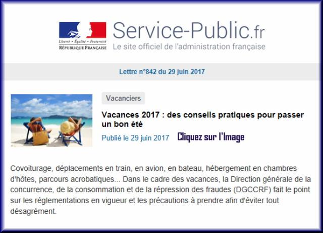 """La lettre N° 842 de """"Service Public"""" pour le 29 Juin 2017 84210"""