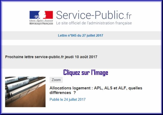 """La lettre N° 845 de """"Service Public"""" pour le 27 Juillet 2017 84510"""
