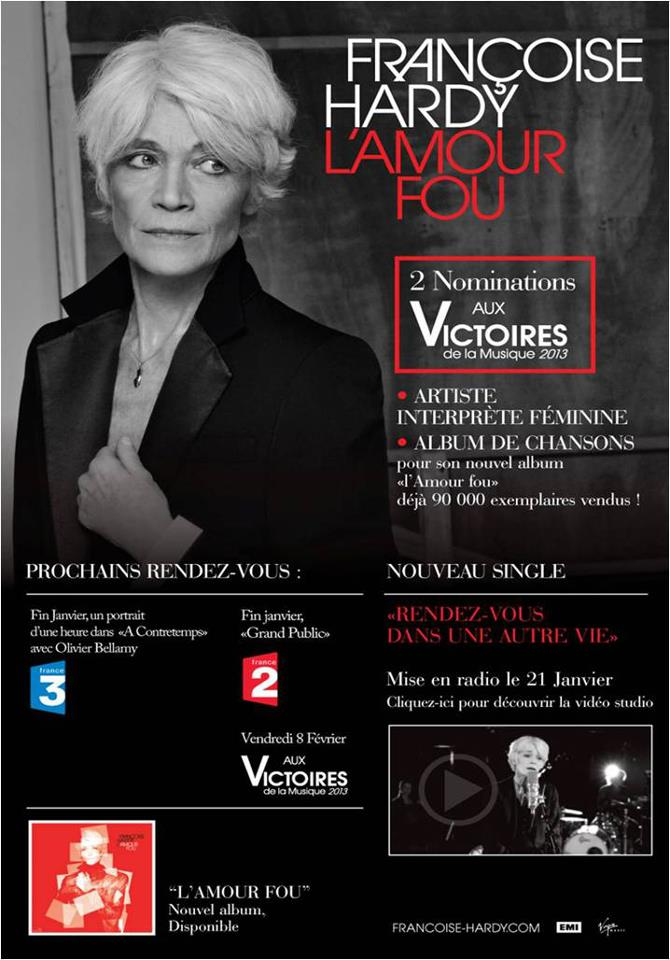 Ventes comparées des cinq derniers albums de Françoise Hardy 60331310