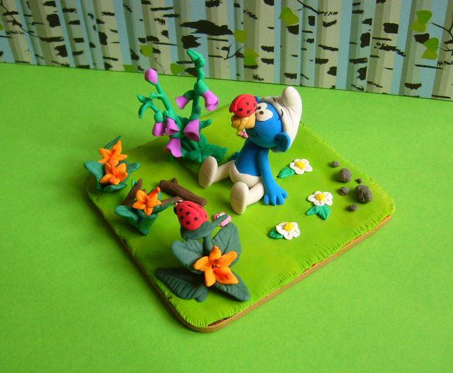 Petits schtroumpfs en pate polymère ( fimo , patarev, pate à modeler ....) - Page 6 Smurf410