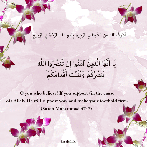 If you support (in the cause of) Allah (Surah Muhammad 47: 7) 6910