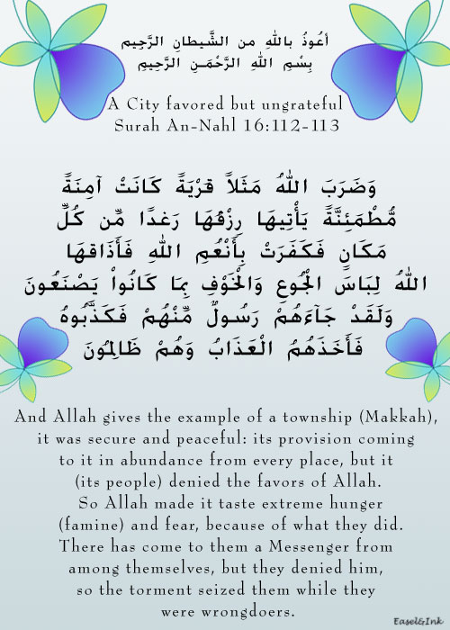 A City favored but ungrateful  (Surah An-Nahl 16:112-113) S16a1110