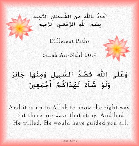 Different Paths (Surah An-Nahl 16:9) S16a9l10