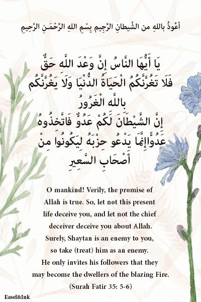 A Reminder of the Resurrection (Surah Fatir 35: 5-6) S35a5-10