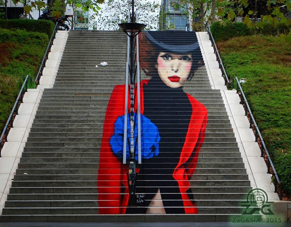 Escaliers peints de Paname et d'ailleurs. Illusions d'optiques de ZAG et SIA A54