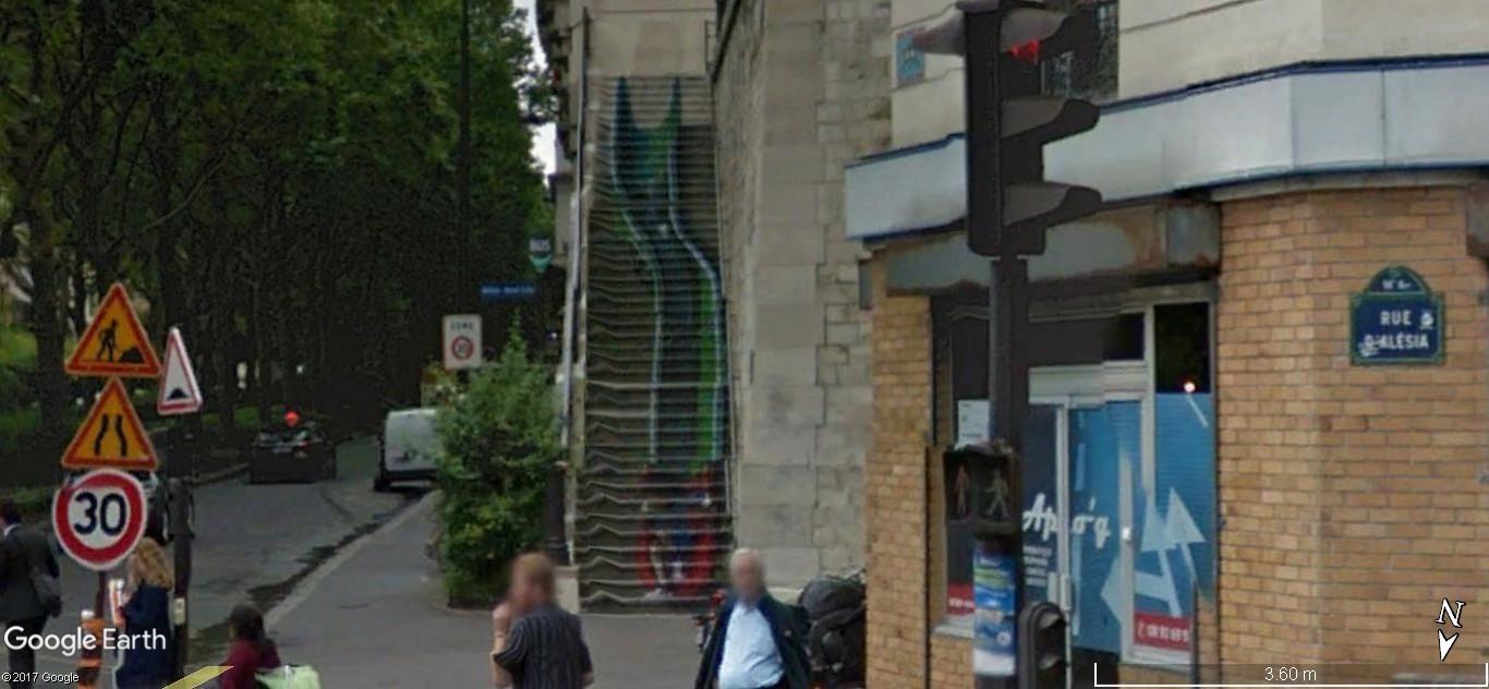 Escaliers peints de Paname et d'ailleurs. Illusions d'optiques de ZAG et SIA A61