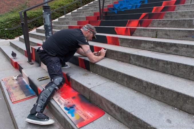 Escaliers peints de Paname et d'ailleurs. Illusions d'optiques de ZAG et SIA A64