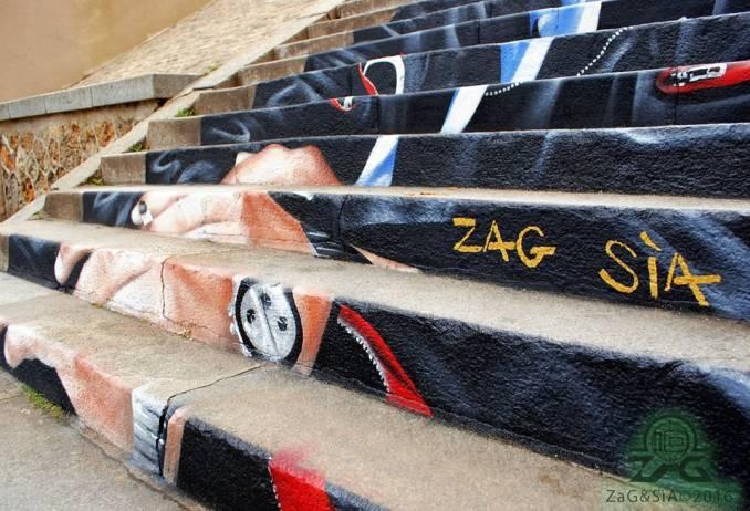 Escaliers peints de Paname et d'ailleurs. Illusions d'optiques de ZAG et SIA Aa10