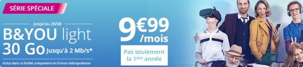 Un forfait B&YOU light 30Go limité à 2 Mb/s... mais à 9,99€/mois à vie 15032910