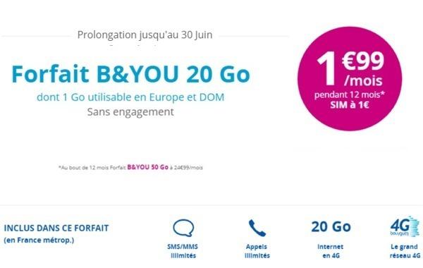 L'offre B&YOU 20Go à 1,99€/mois... ça continue ! Bandyo10