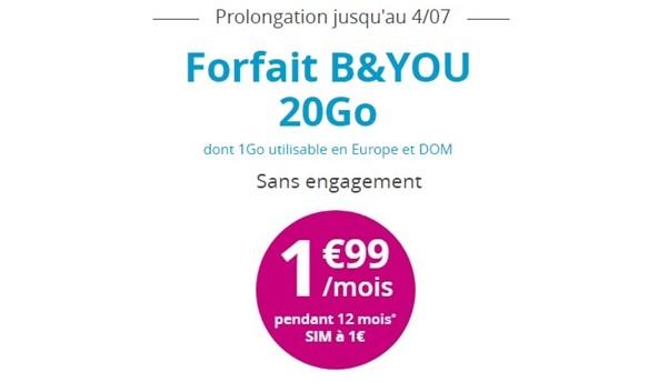 Quatrième prolongation de l'offre B&YOU 20Go à 1,99€/mois Bandyo11