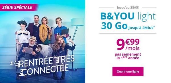 Un forfait B&YOU light 30Go limité à 2 Mb/s... mais à 9,99€/mois à vie Byouli10