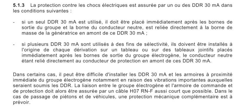 Protection contre les surcharges d'un groupe électrogène portatif Nfc_c412