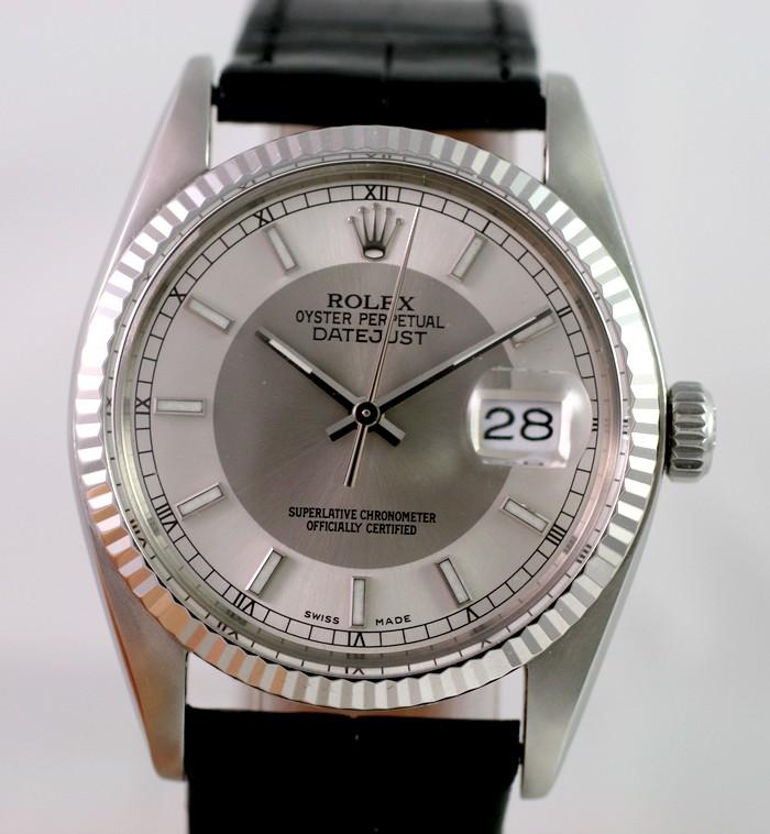 """(Vendue) Rolex Datejust plexi lunette or gris cadran """"Tuxedo"""" acier/argent Img_0610"""