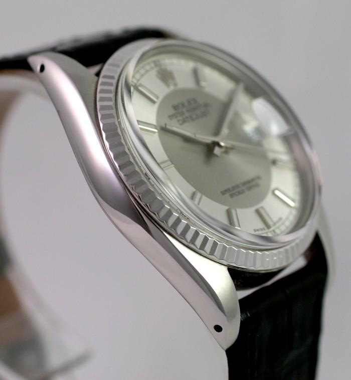"""(Vendue) Rolex Datejust plexi lunette or gris cadran """"Tuxedo"""" acier/argent Img_0611"""