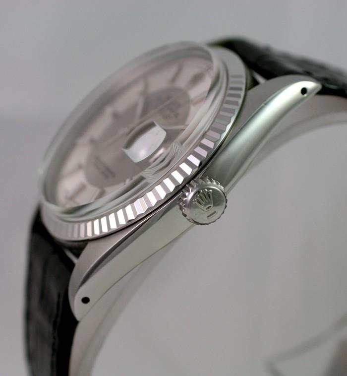 """(Vendue) Rolex Datejust plexi lunette or gris cadran """"Tuxedo"""" acier/argent Img_0612"""