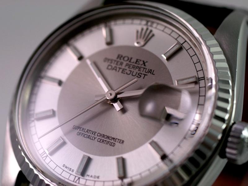 """(Vendue) Rolex Datejust plexi lunette or gris cadran """"Tuxedo"""" acier/argent Img_0613"""