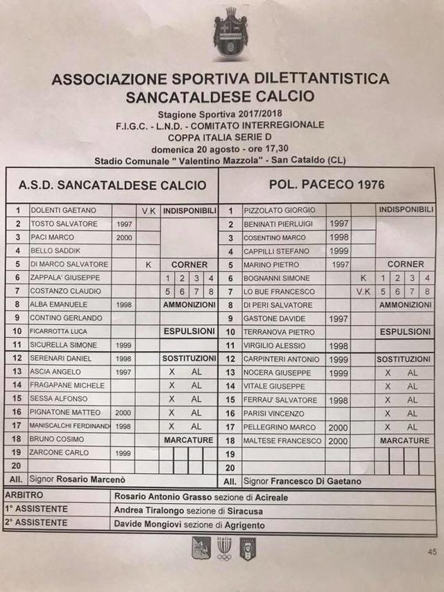 Turno Preliminare C. I. : Sancataldese - Paceco 1-0 20914610