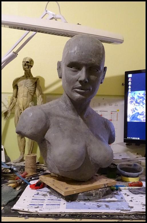Mystique lifesize bust Wip_1211
