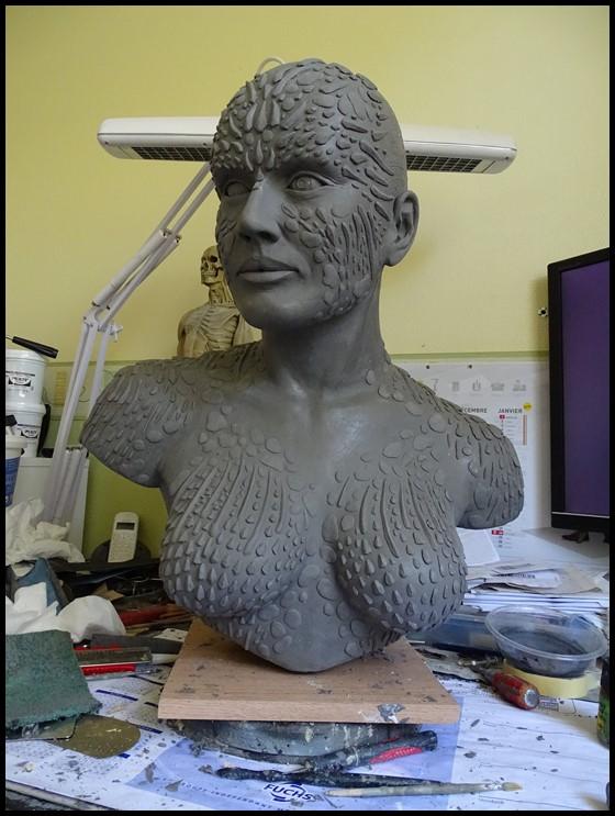 Mystique lifesize bust Wip_2810