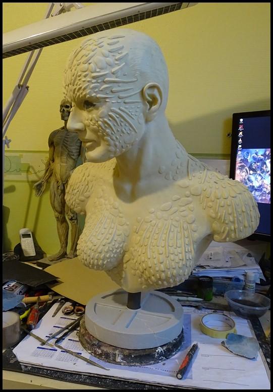 Mystique lifesize bust Wip_3410