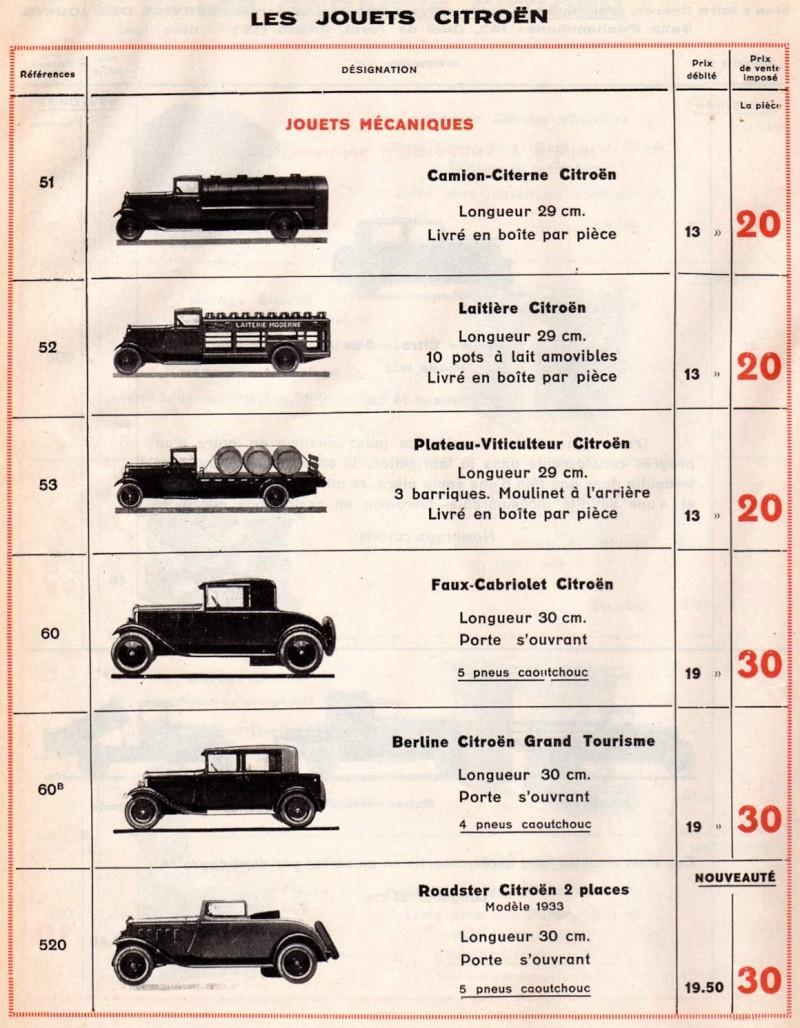 Citroën, les jouets : catalogue 1935 Tarif_14