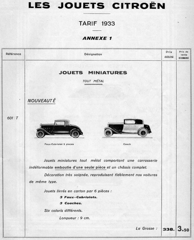 Citroën, les jouets : catalogue 1935 Tarif_21