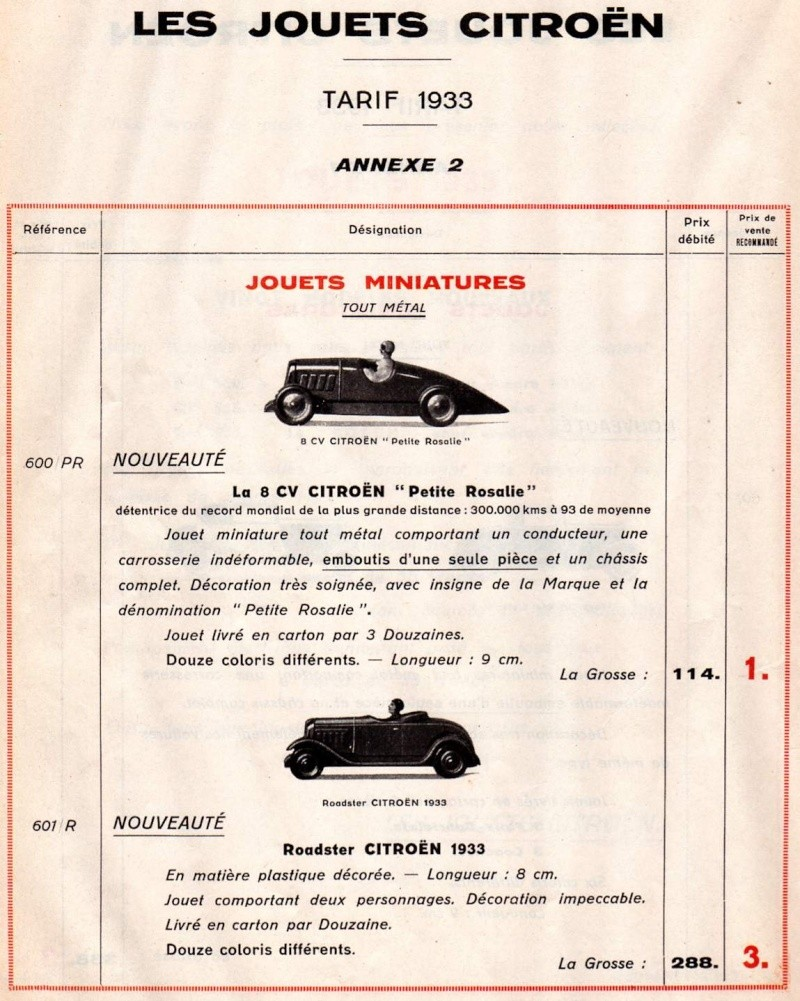 Citroën, les jouets : catalogue 1935 Tarif_22