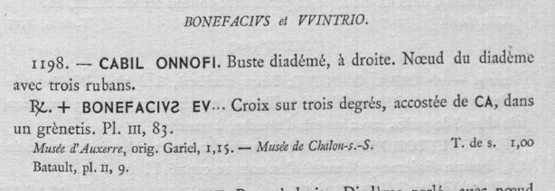 """Triens Chalon sur Saône """"BONIFACIVS E VINTRIO"""" Belfor10"""