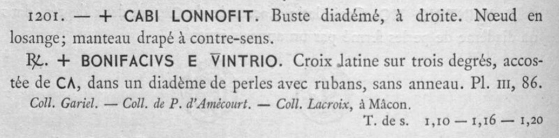 """Triens Chalon sur Saône """"BONIFACIVS E VINTRIO"""" Belfor12"""