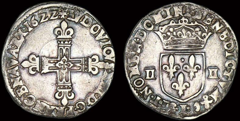 Huitième d'Ecu louis xiii 1622 Bayonne. Quart_10