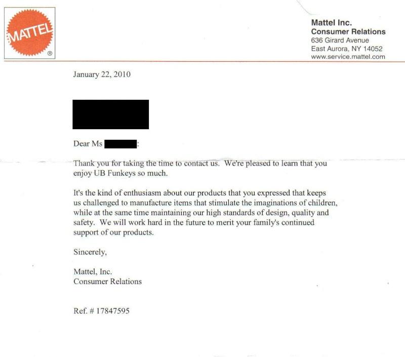 An end to Funkeys?? - Write a letter Mattel11