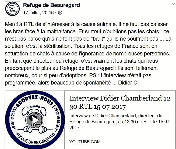 Les abandons de l'été, interview de Didier Chamberland au 12 3O de RTL Captur11