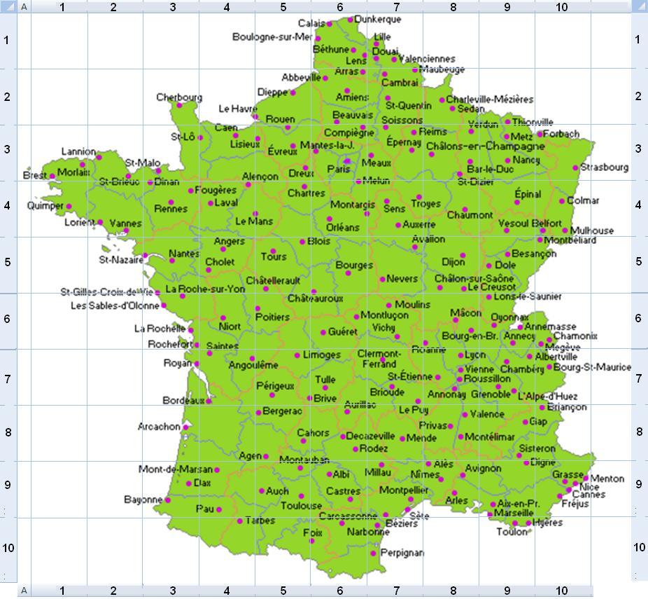 Une carte de France dans un damier de 10x10 Carte_12