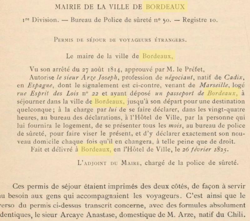 ( Bordeaux ) le Permis de séjour en 1825 Girond19