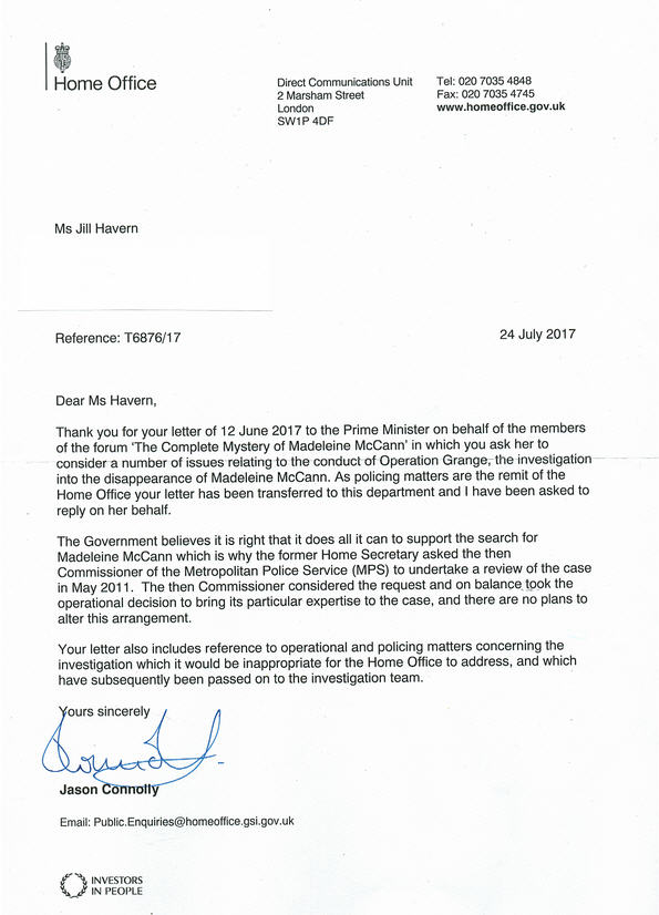 The letters to the Prime Minister and Met Police Commissioner Cressida Dick were posted on Tuesday (12 June) and I am awaiting replies which I shall post here. I have also sent a copy to the Leader of the Opposition, Jeremy Corbyn.  Home_o10