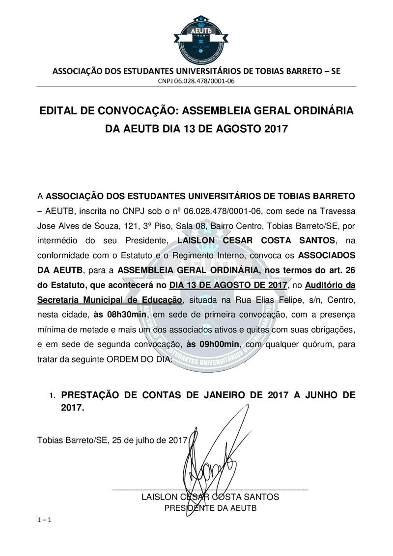 EDITAL DE CONVOCAÇÃO: ASSEMBLEIA ORDINÁRIA DA AEUTB DIA 13-08-2017 Edital10