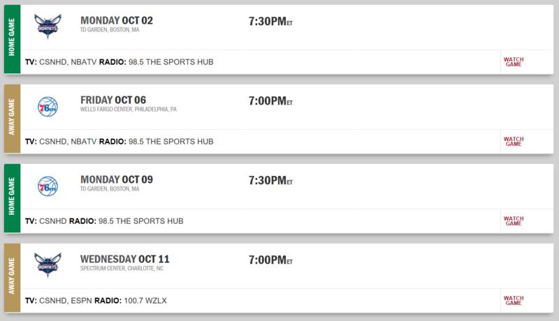 Preseason Schedule Screen43