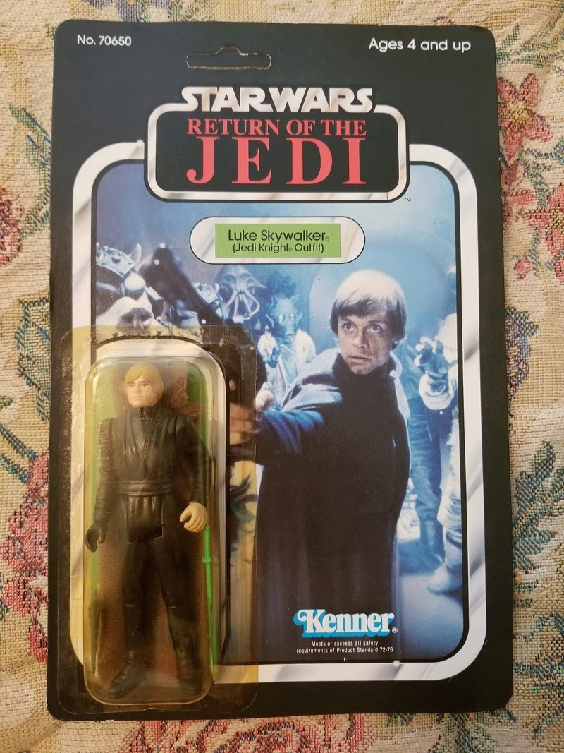 Jedi luke 65 back, green saber with snap cape visable in box. 20170811