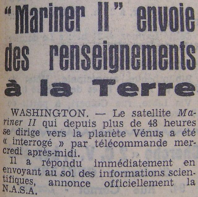 27 août 1962 - Mariner 2 - 1er survol réussi de Vénus 62083110