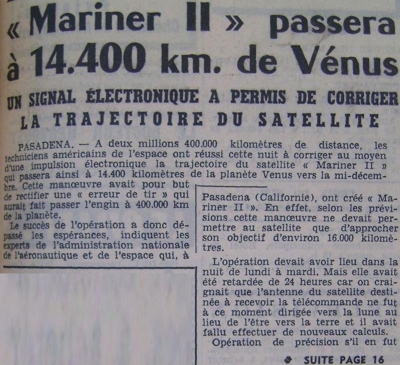 27 août 1962 - Mariner 2 - 1er survol réussi de Vénus 62090610