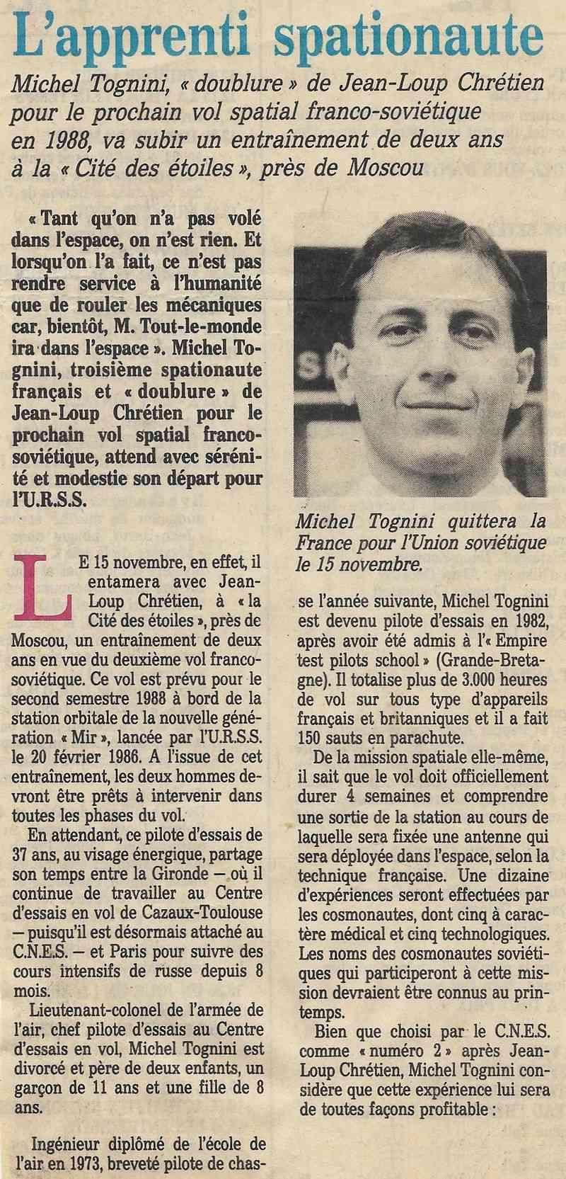 Michel Tognini - 3ème Français dans l'espace 86102410