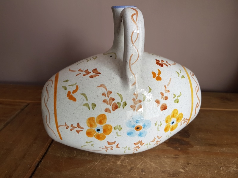 Hand Painted Pottery Barrel Decanter 20170811
